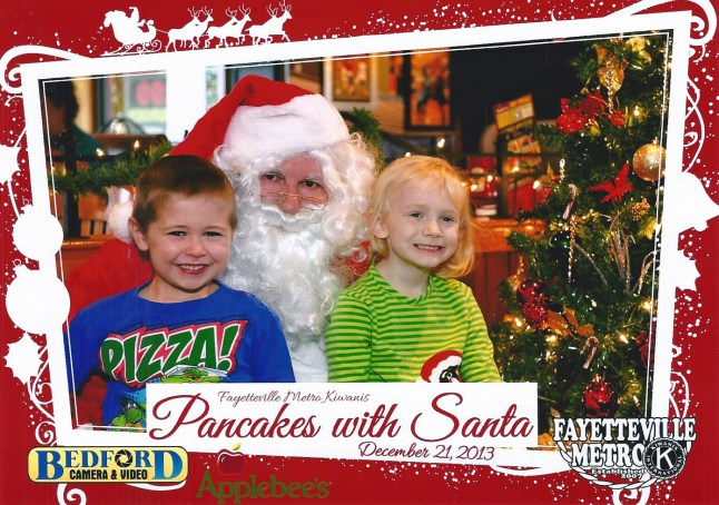 Having breakfast with Santa - and Scout!