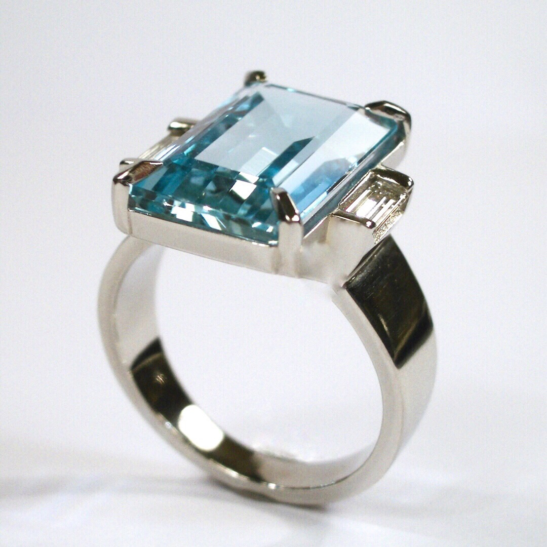 Platinum Art Deco Ring Aquamarine and Diamonds for Linda