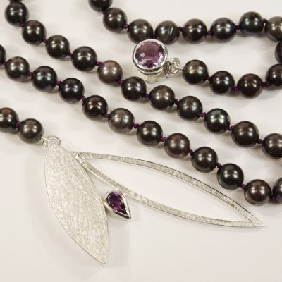 Margo's Black Pearl Necklace With Silver Marquise Box Clasp Set With Amethysts