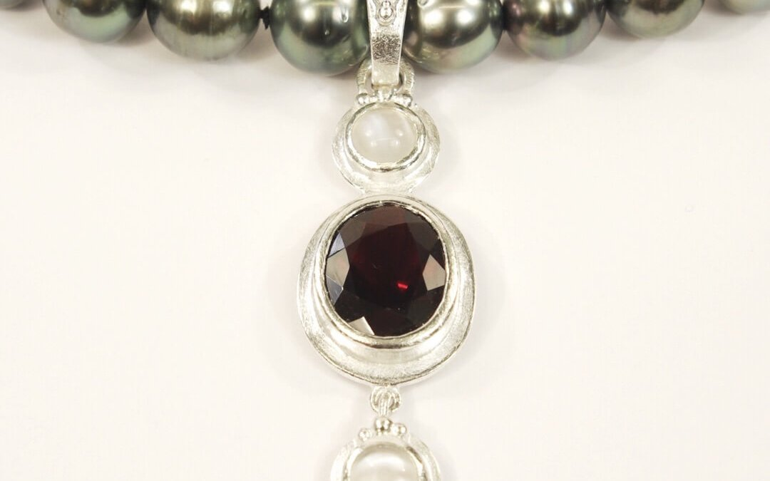 Heather's Clip-On Silver Pendant Set With An Oval Garnet and Two Moonstones