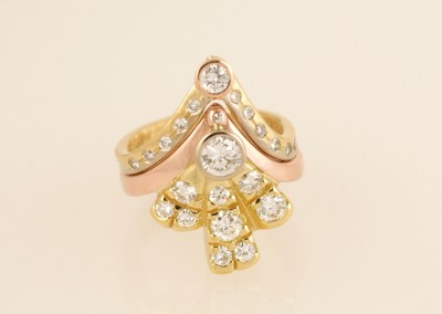 Alices Three Colour Gold Art-Deco Diamond Fan Ring Set, Part 29
