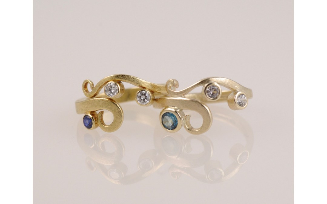 Gold Curl Rings In Shades of Blue