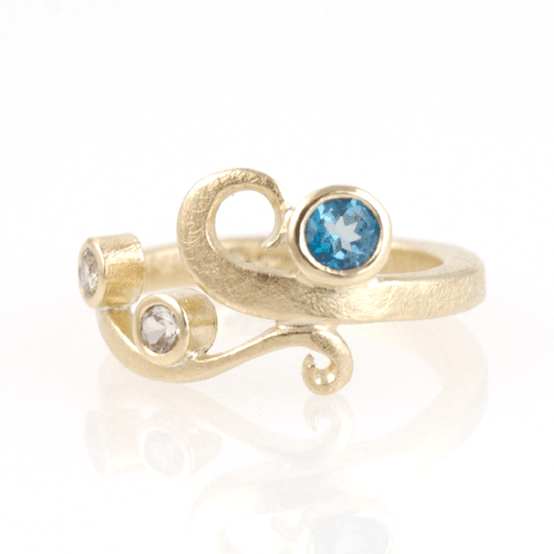 Gold Curl Ring: 9ct Yellow Gold, Blue Topaz, White Sapphires