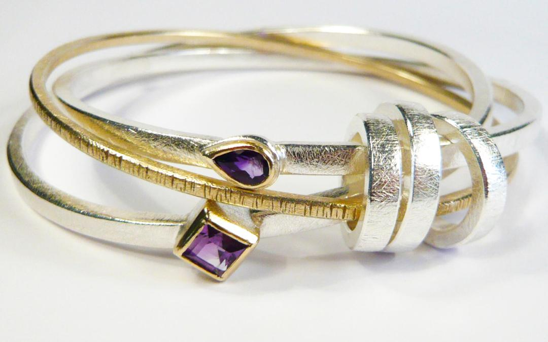 Victoria's 'Jingle Jangle' Bangle in Silver, 9ct Yellow Gold & Amethysts