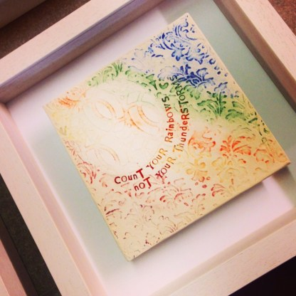 irish pottery wall art - count your rainbows not your thunderstorms