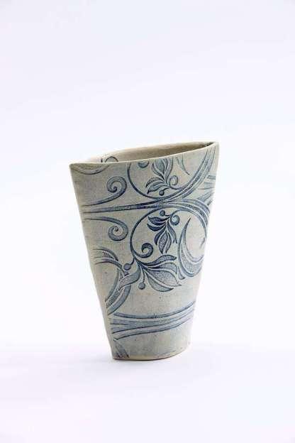 Impressed Bouquet Vase - blue