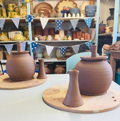 hand thrown teapots at the assembling stage wheel thrown by sarah monk ceramics