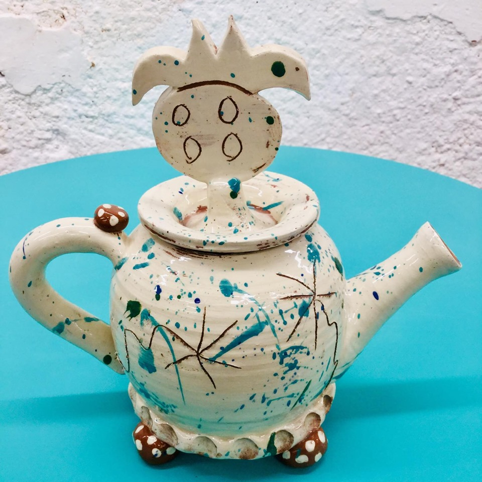 slipware teapot with fruit lid by sarah monk ceramics