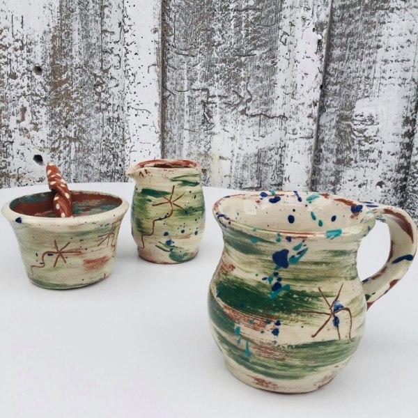 brushed green tea set with spoon bowl jug mug by sarah monk ceramics