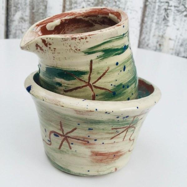 mini milk jug and sugar bowl set in brushed green slipware by sarah monk ceramics