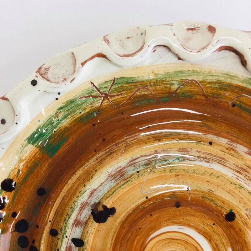 slab built olive plate work in progress with cobalt splatters