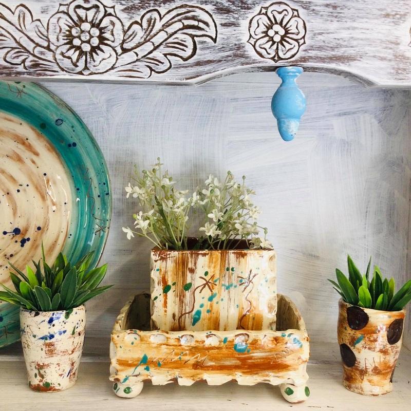 shelfie of slab plant pot by sarah monk ceramics