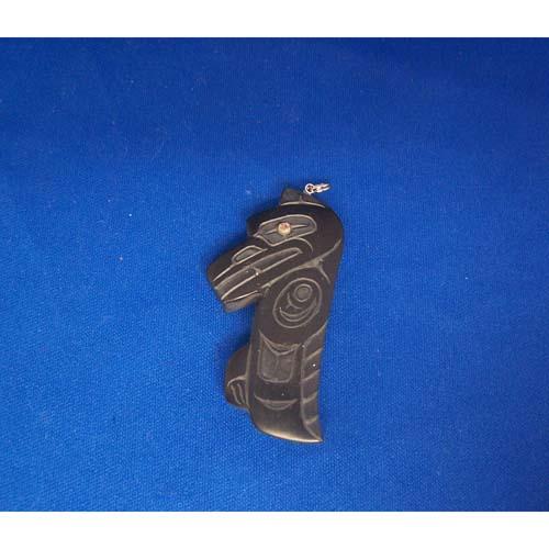 Argillite Raven Pendant by Alfred Davidson 3rd