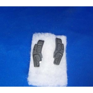 Argillite Raven Stud Earrings by Alfred Davidson 3rd