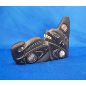 Argillite Raven & Killer Whale Sculpture by Cooper Wilson