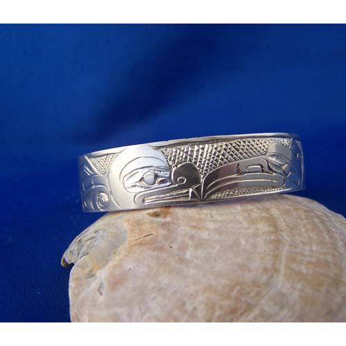 Silver Raven Killer Whale Youth Bracelet by Cooper Wilson