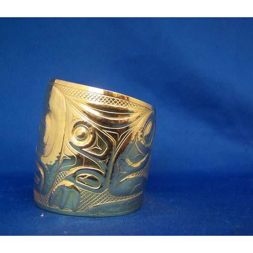 14K Two Inch Gold Frog Reprosee Bracelet by Derek White