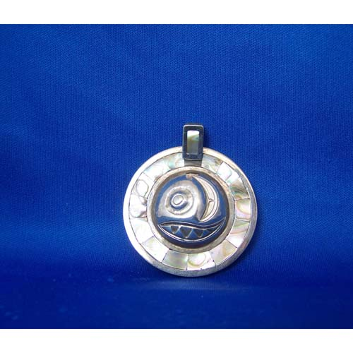 Silver Two Sided Salmon Egg Pendant by Derel White