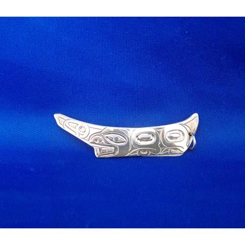 Silver Bear Canoe Pendant by Derek White