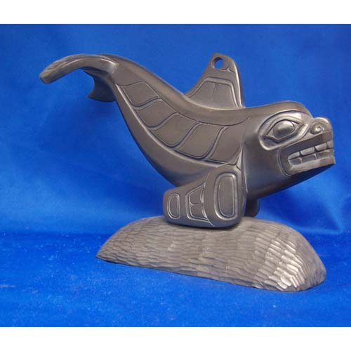 Argillite Killer Whale Sculpture by Donnie Edenshaw