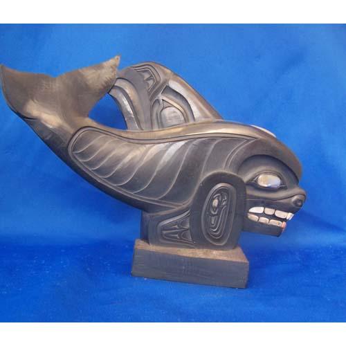 Argillite Killer Whale Scullpture by Fred Wilosn