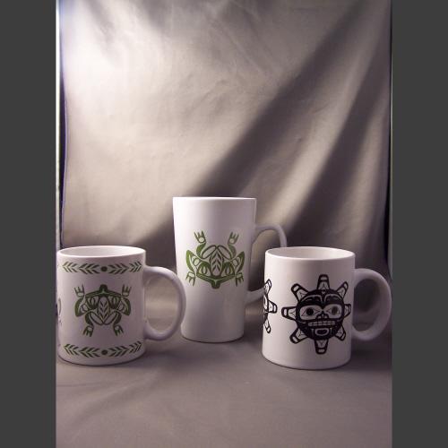 White Porcelain Gift Mugs - Haida Arts and Jewellery Masset BC