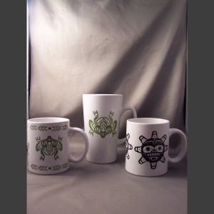 White Porcelain Gift Mugs - Haida Arts and Jewellery Masset BC