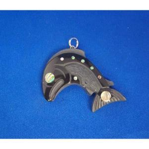 Argillite Salmon Pendant by Myles Edgars