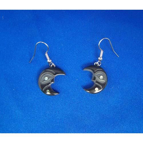 Argillite Crecent Moon Earrings by Myles Edgars