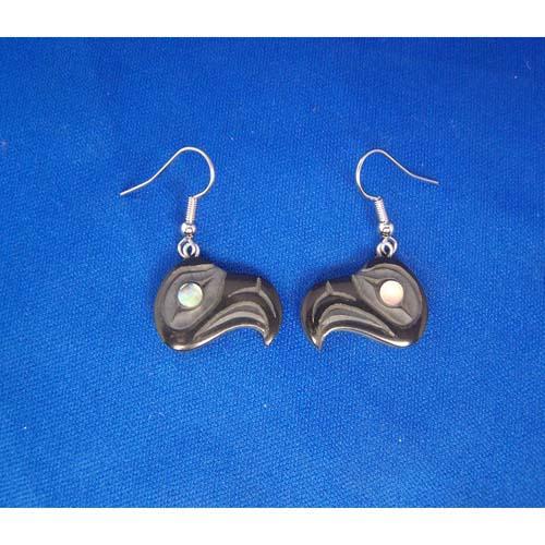 Argillite Eagle earrings by Myles Edgars