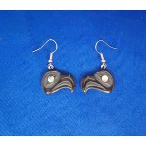 Argillite Eagle earrings by Myles Edgars