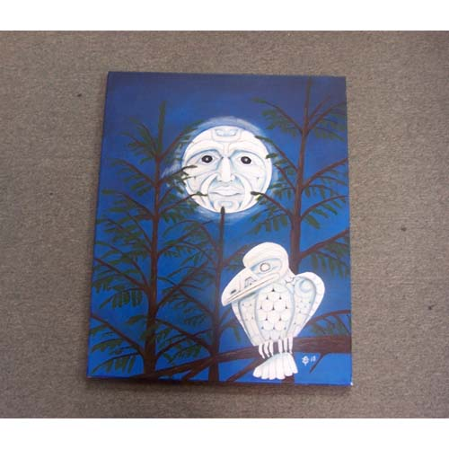 Original Acrylic White Raven Moon by Theodore Bell