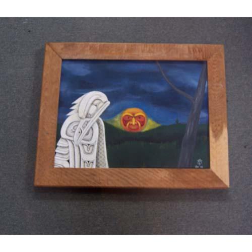 Original Acrylic White Raven Painting by Theodore Bell - Haida Arts and Jewellery Masset BC