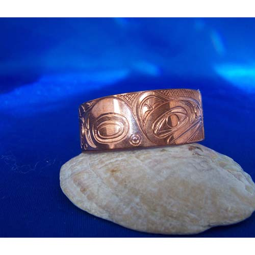 Copper raven side view Eagle Raven Bracelet by Neil Goertzen