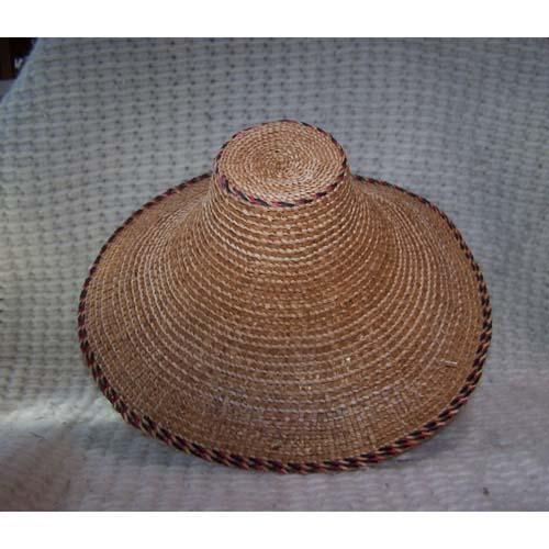 Died Red & Black Cedar Bark Trimmed Hat by Dorcas Bell White