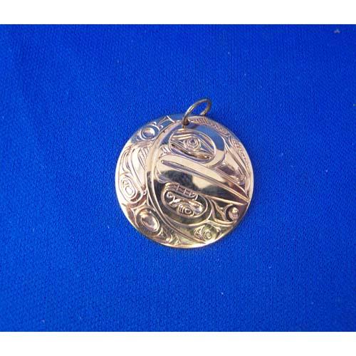 Gold Raven Crecent Moon Pendant by David Jones