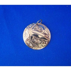 Gold Raven Crecent Moon Pendant by David Jones