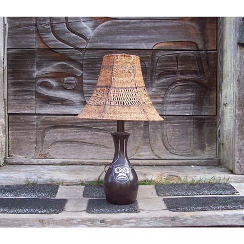 Red Cedar Bark Lamp Shade by Brenda Edenshaw
