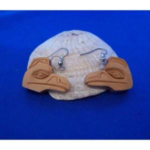 Red Cedar Raven Earrings by Leon Ridley
