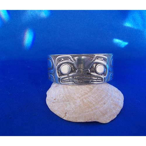 Silver One Inch Oxidized Bear Bracelet by Carmen Goertzen