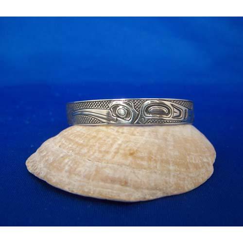 Silver Oxidized side View Hummingbirds Bracelet by Carmen Goertzen