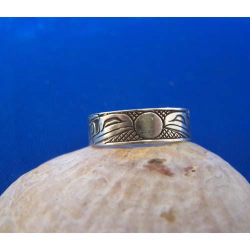 Silver Ravens Moon Oxidized Ring by Carmen Goertzen