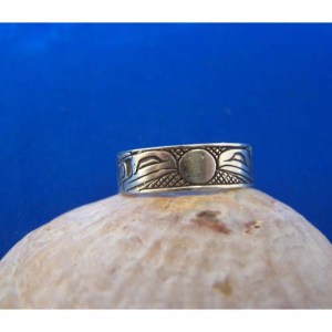 Silver Ravens Moon Oxidized Ring by Carmen Goertzen