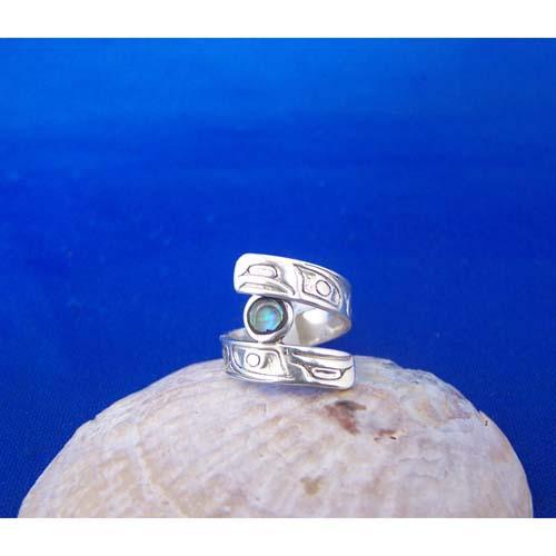 Silver Raven Moon with Abalone Ring by Carmen Goertzen