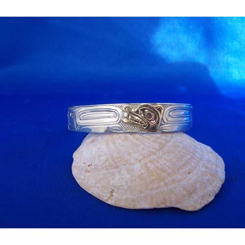 Silver with Gold Wolf Bracelet by Carmen Goertzen