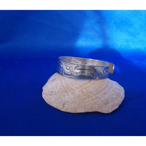 Silver with Gold Wolf side of Bracelet by Carmen Goertzen