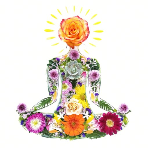 2020 Calendar cover with seated yogi woman made of flowers