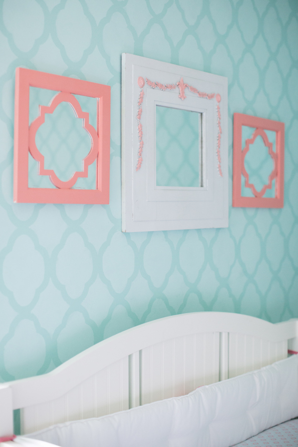 Coral and Robin's Egg Blue Girl's Nursery || Sarah Sofia Productions