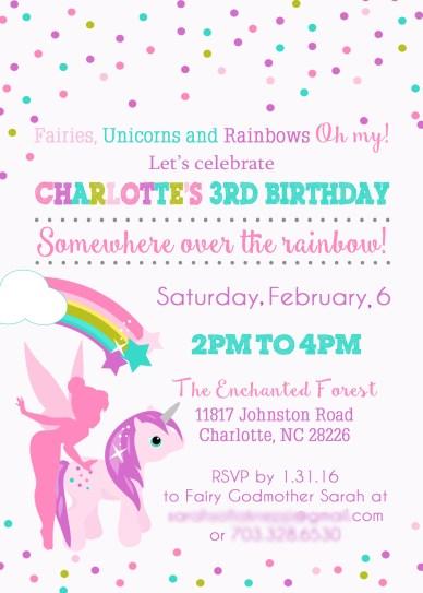 Fairies Unicorns and Rainbows Party Inspiration: Invitation Sarah Sofia Productions