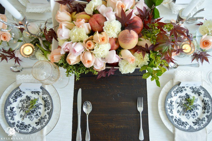 Mothers-Day-Table-Peach-Nectarine-Floral-Arrangement-Sophisticated-table-garland
